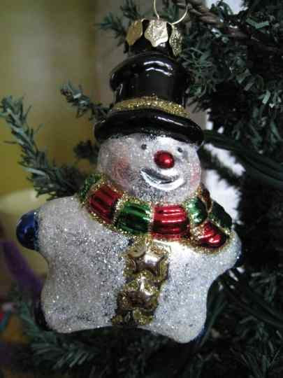 Glass snowman ornament, a gift from mom.