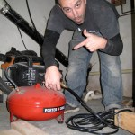 Pete's really stoked to use the pancake compressor. Well, it DID make the job much faster.