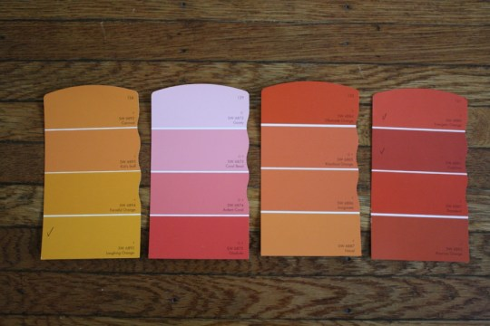 I love me a good paint chip palette. Here are some colors I'm planning to introduce.