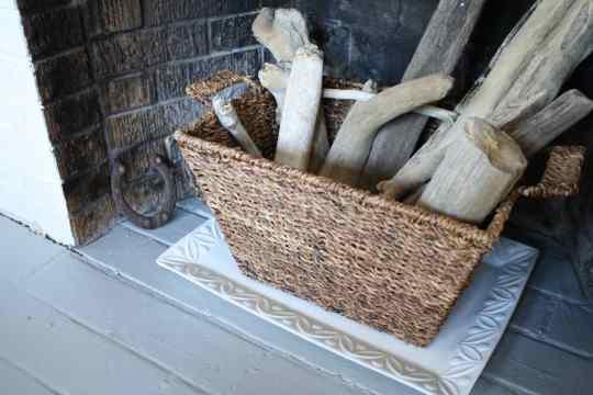 Pottery Barn Platter + Basket + Driftwood