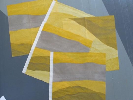 Marimekko ottoman pieces. Coming together. Loving those colors.