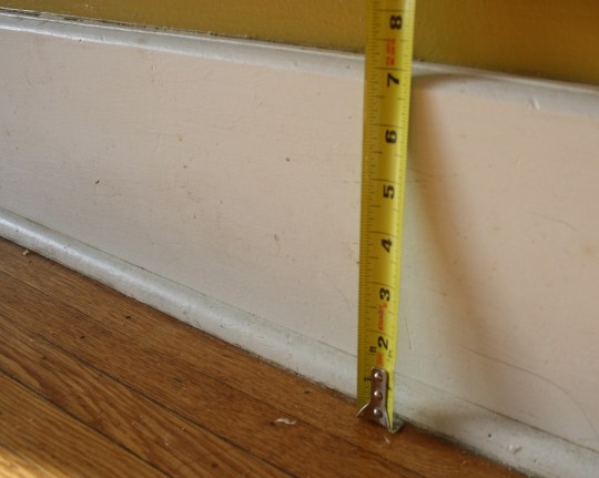 Existing baseboard height, 7-1/8""