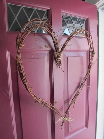 Heart wreath, hung.