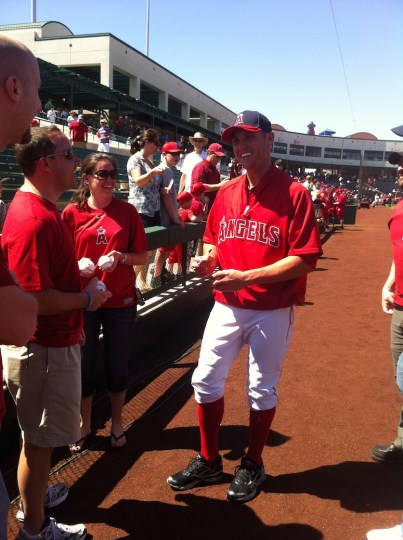Baseball signing with Peter Bourjos.