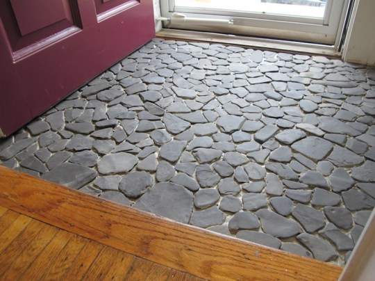 A shale stone entryway, pre-grout.