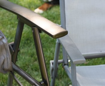 Spray painting outdoor furniture.