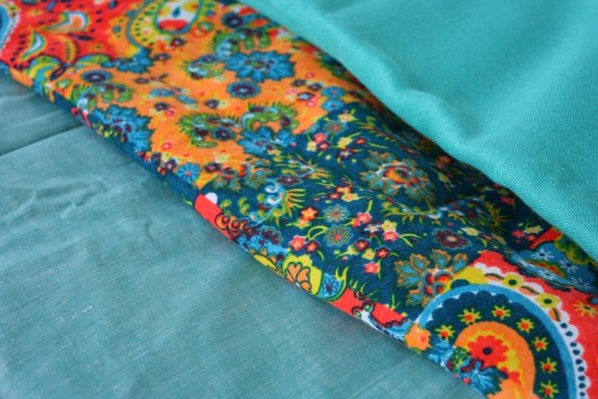 Vintage fabrics from a garage sale.
