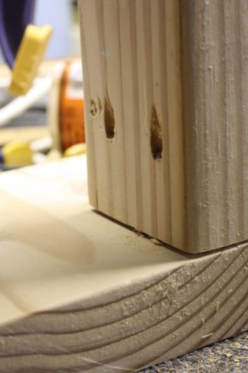 Countersinking the screws into the base of the step stool.