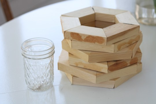 What will become of a simple canning jar and a stack of scrap hexagons?