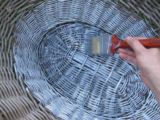 Painting the basket silver!