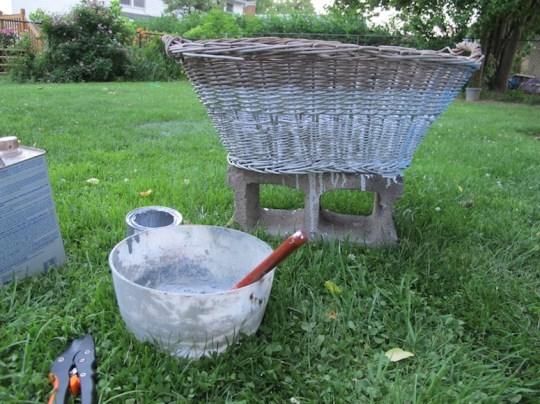 Painted wicker basket.
