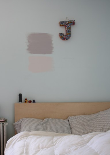 Paint tested above the bed.