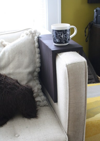 Cute new little couch arm. Perfect for holding our sips morning and night.