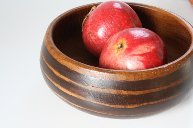 Hand painted teak bowl, new stripes!