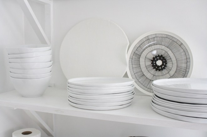 Voila, a brand new dinnerware collection in spark white. (Crate & Barrel Mercer Collection)