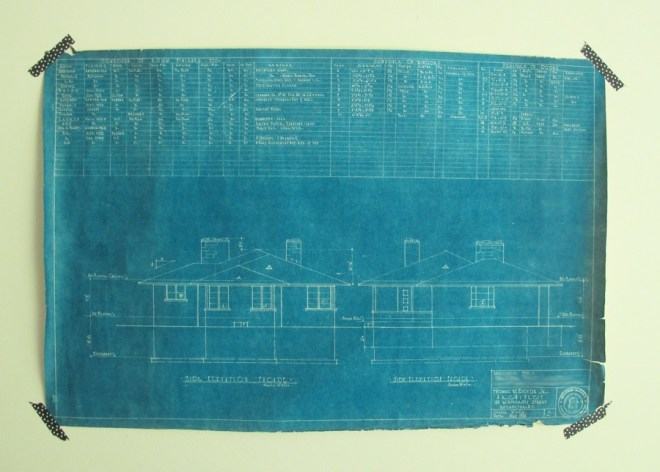 Blueprint of our 1951 Ranch.