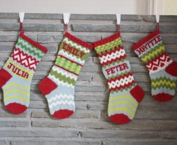 Handmade wool Christmas stockings by Erin Makes Stuff.