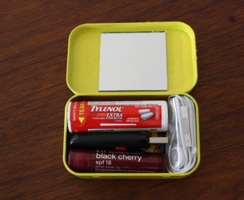 Upcycle an Altoid tin as a travel storage accessory.