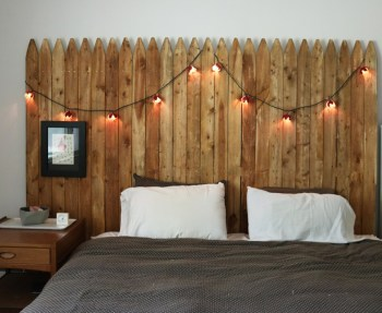 Upcycle a fence panel into a king-size headboard for the bedroom.