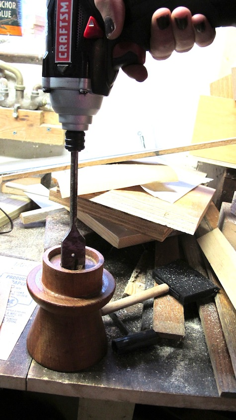 Upcycle a candlestick holder with electric fittings to make an electric candlestick.