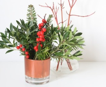 Trimmings in vases for easy holiday or winter decor.