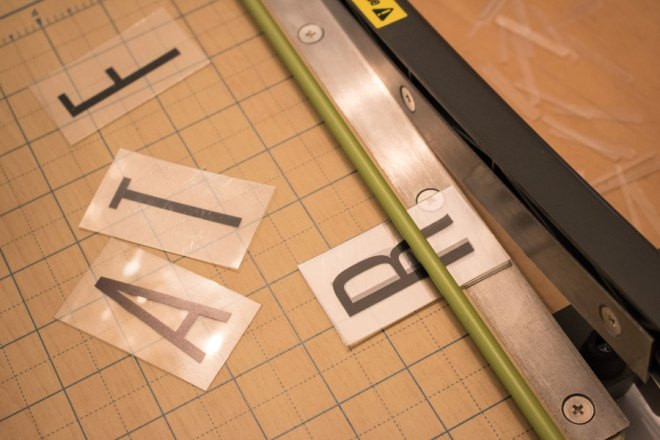 Cutting Heidi Swapp light box letters to size.