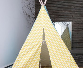 A tall kid's teepee from Minted as a Christmas surprise for our kids.