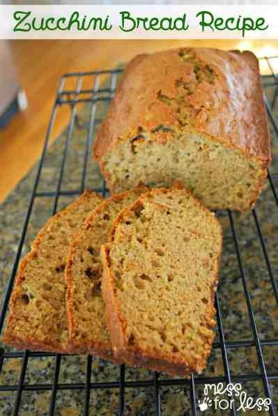 Zucchini Bread Recipe - Mess for Less