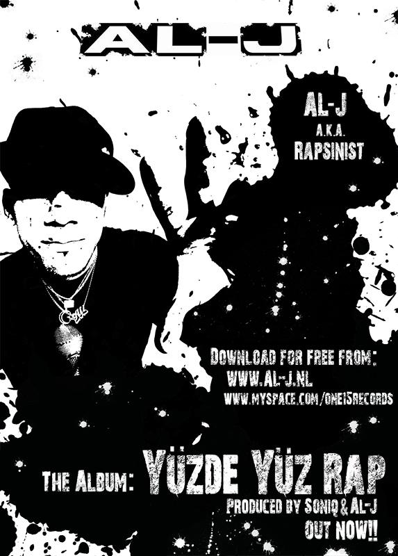 AL-J foto en (digitale) flyer voor zijn album Yüzde Yüz Rap.