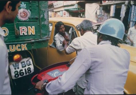 Taxi Driver and Pedestrian Argue, Chitpur Road, Calcutta, 1987