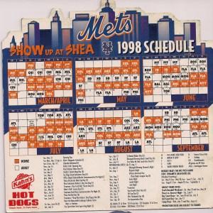1998 Mets Magnetic schedule