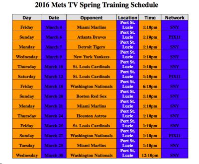 2016 spring training mets tv schedule