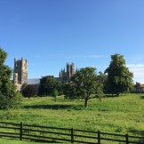 Ely Cathedral across the Dean's Meadow with the Deanery in view.