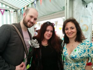 With Jamie Anderson (son of Gerry) and Nina Douglas (Orion Children's Books) at Hay festival 2015