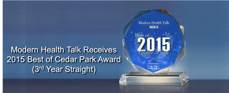 Modern Health Talk Receives a 2015 Best of Cedar Park Award for third straight year.