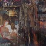 mannfrau mit flasche 2015 Ei-Tempera auf Papier 100x70cm