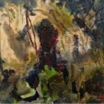 Man im Busch 2016  Öl auf Leinwand 40x40 cm