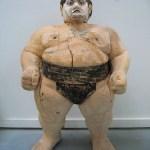 Sumowrestler 2005, 116 x 70 x 50 cm, Holz, Ink