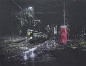 o.T. Strassenbahnserie 2017 Aquarell auf schwarzem Papier 24 x 30 cm
