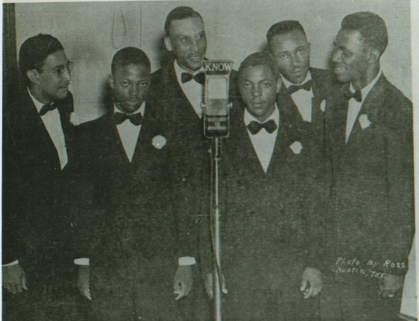 Discovering another group had the same name, the Starlight Singers changed their name to the Bells of Joy. In this 1946 photo (l-r): Buford Johnson, A.D. Watson, Booker T. Hicks, Eddie Watson, Wilman Reed and A.C. Littlefield.