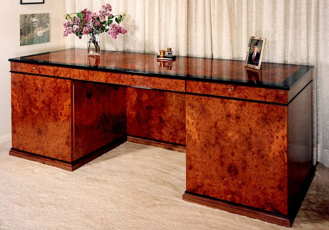 Carpathian elm burl desk