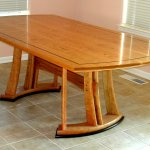 Cherry dining table with wenge accents