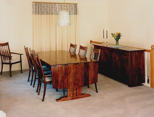 Walnut dining table with drop leaf