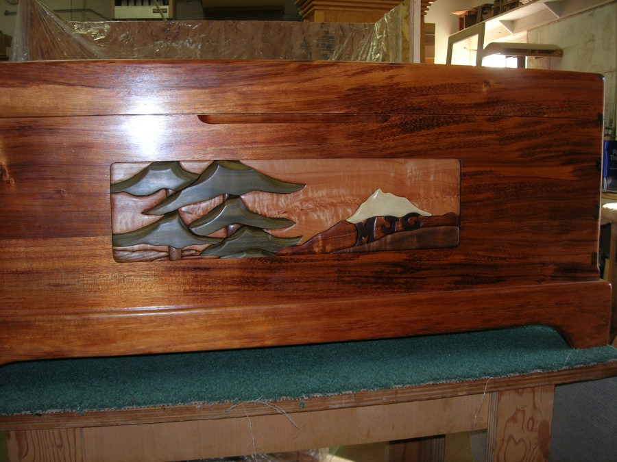 Koa chest with majestic fir inlay