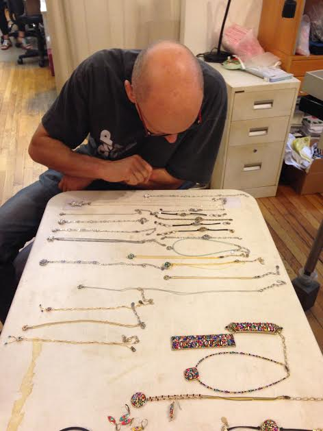 Michael inspecting the new pieces