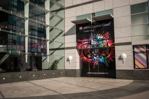 The new CS6 artwork adorns the Adobe Building in San Jose