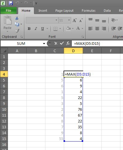 Showing the highest number in Excel using the Max function