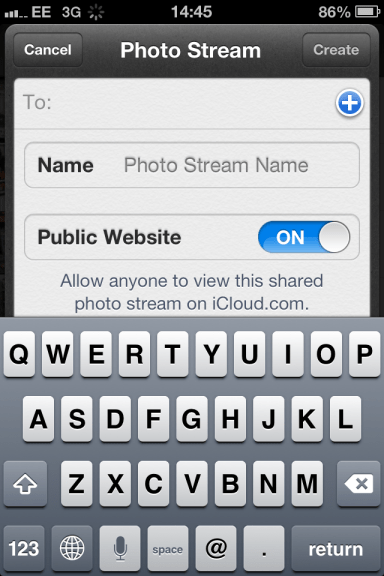 A Screenshot of Apple's Photo Stream Feature