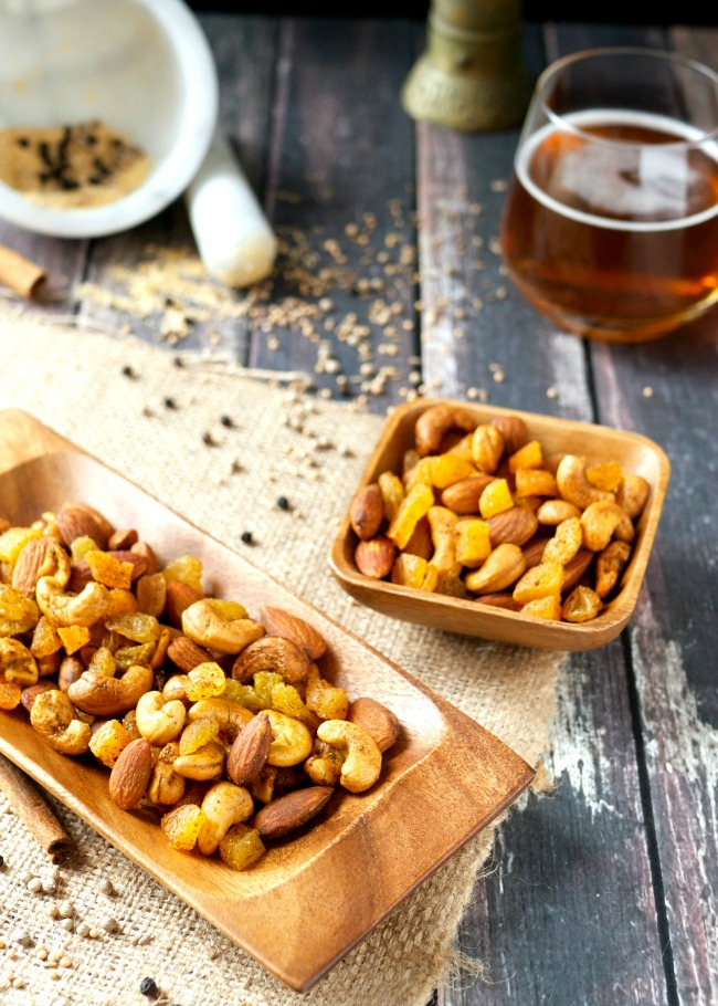 Moroccan spiced nuts, dried apricots and golden raisins balance heat/sweet, crunchy/chewy in this crazy good trail mix.