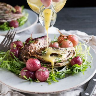 Bored by all your traditional Thanksgiving side dish recipes? This Roasted Radicchio and Grapes is not just unique, it's also healthy! A great way to balance out the sweetness of your Thanksgiving feast. Vegetarian and gluten free. Can be made vegan with one simple swap.